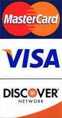 Visa, Master Card, and Discover credit cards accepted